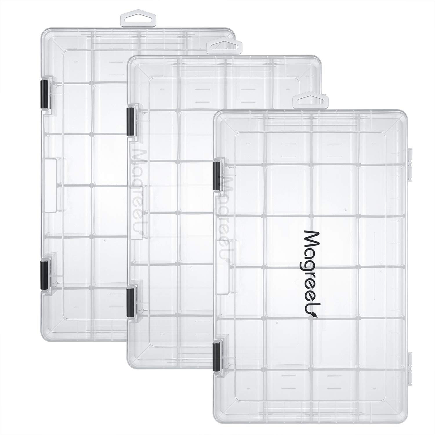 Magreel Fishing Tackle Boxes, 3-Pack Transparent Fish Tackle Storage with Adjustable Dividers, Waterproof Plastic Box Organizer 3600/3700 Tackle Trays by Magreel
