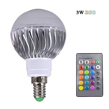 Yao Bombilla LED de 3W RGB LED E14 Bombilla con Control Remoto Remoto de 24 Teclas ...