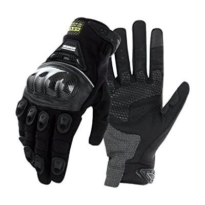 Scoyco Kevlar Fiber Carbon Fiber Shell Knuckle Reinforced Knight Locomotive Shatter-Resistant Breathable Full Finger Riding Racing Motorcycle Gloves (Black,L): Automotive