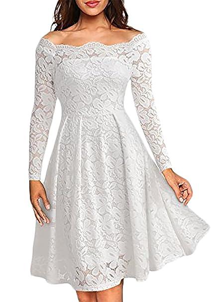 online retailer 7f9ea eaa81 Abiti Donna Eleganti Da Cerimonia Vestito Pizzo Manica Lunga ...