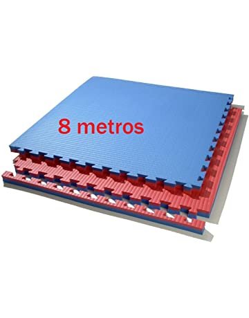 8 metros de tatami puzzle 100 x 100 x 4 cm. (rojo/azul