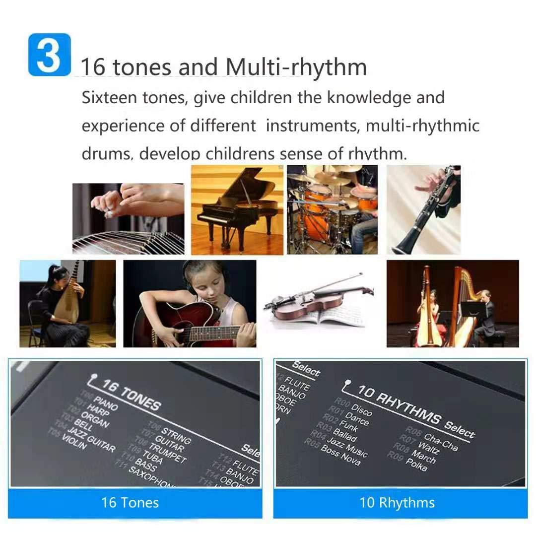 TianYaer Teclado Electrónico Piano 61 Teclas, Teclado de Piano Portátil con Micrófono Teclado portátil Regalo para Niño, Niña Principiantes