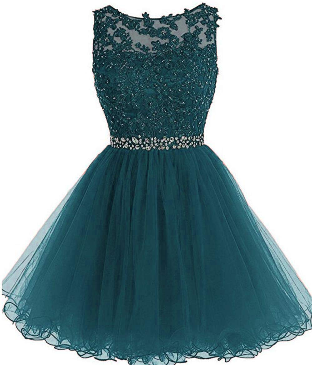 Line Tulle Juniors Short Prom Party Dress