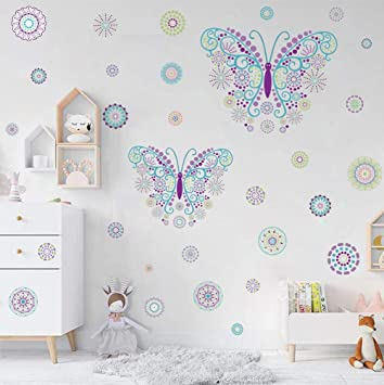 Kairne Schmetterling Wandtattoo Blumen Wandaufkleber Kinder Butterfly Stickers Punkte Wandsticker Bunt Kinderzimmer Wand Deko Fur Madchen Schlafzimmer Flur Wohnzimmer Amazon De Baby