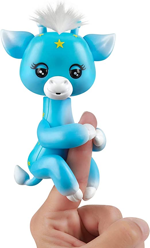 WowWee Fingerlings Baby Giraffe - Lil' G (Blue) - Friendly Interactive Toy