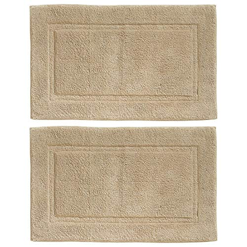 mDesign Soft 100% Cotton Luxury Hotel-Style Rectangular Spa Mat Rug, Plush Water Absorbent, Decorative Border - for Bathroom Vanity, Bathtub/Shower - Machine Washable - 2 Pack - Linen/Tan
