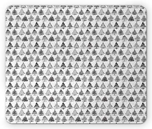 Ambesonne Christmas Mouse Pad, Monochrome Pine Trees Sketchy New Years Eve Classical Rhythmic Design, Rectangle Non-Slip Rubber Mousepad, Standard Size, Charcoal Grey White