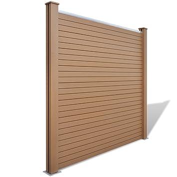 Anself Quadratisch Wpc Zaun Panel Braun Amazon De Garten