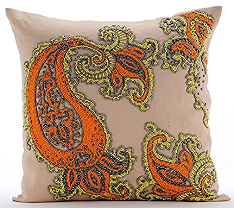 Luxury Multi Color Throw Pillows Cover, Multicolor Indian Paisley Beaded  Pillows Cover, Throw Pillow