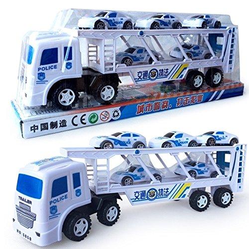 F-eshion - Juguetes de estilo para coches con inercia directa, tractores de doble trompeta, camión, tractores de policía, coche