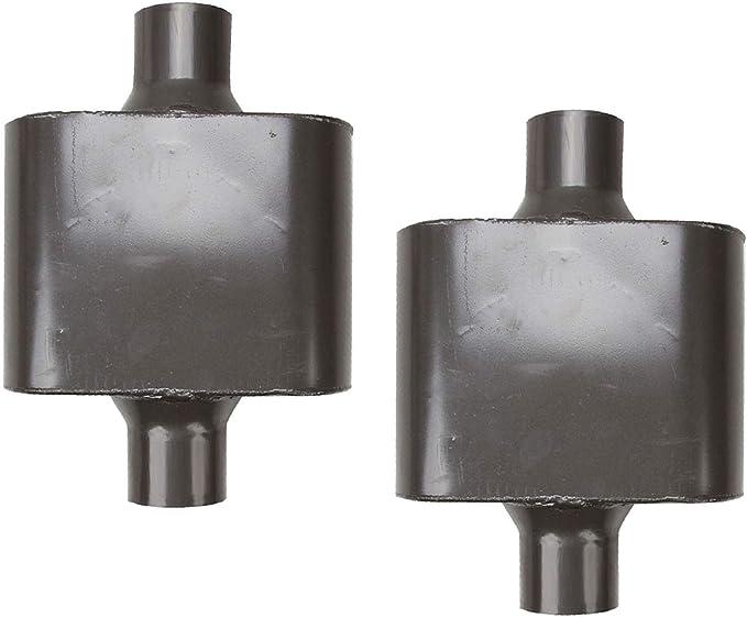 Pair of single chamber universal performance race round mufflers 2.25