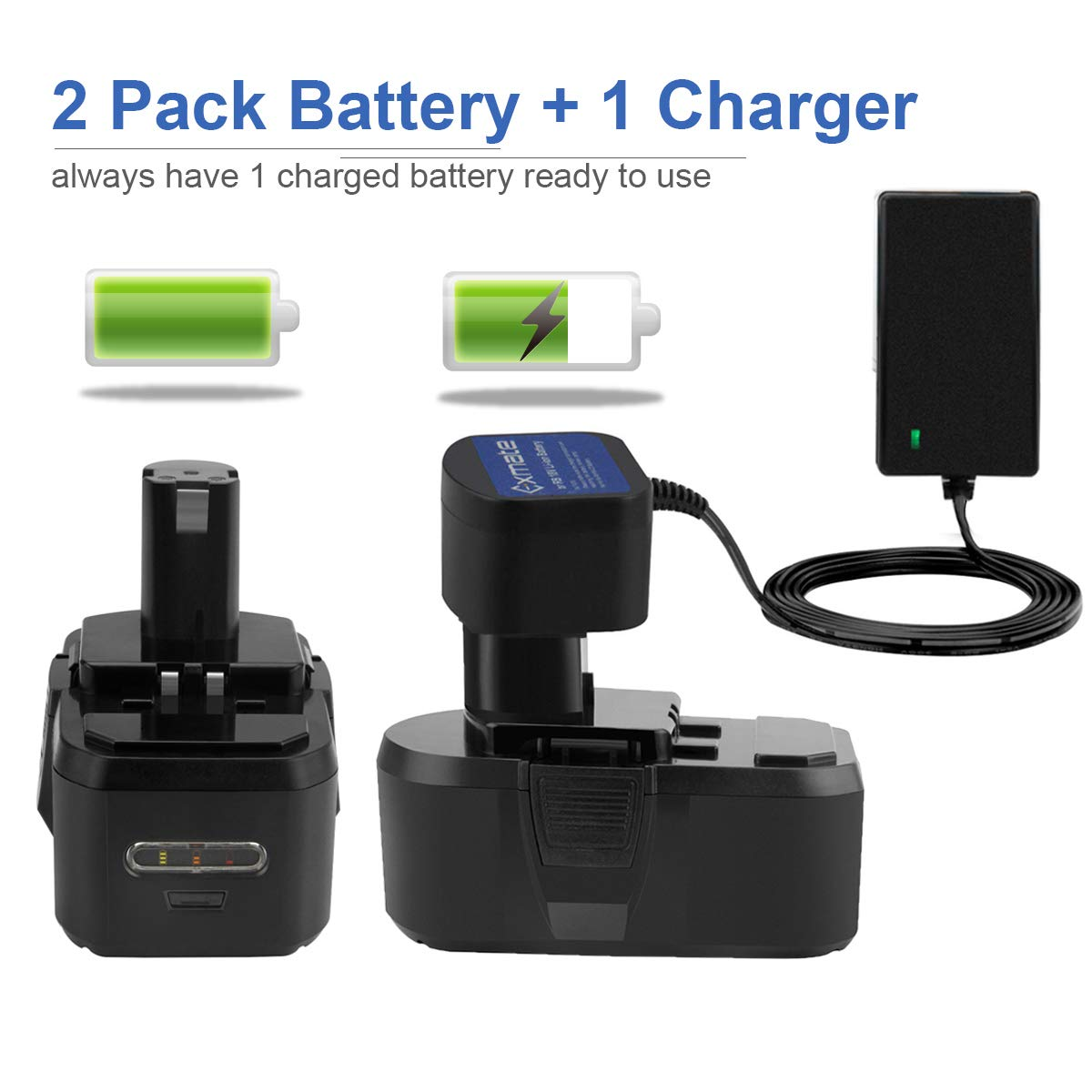 Exmate 2 Pack 18V 3.5Ah Ni-MH Battery with Multivolt 1.2V-18V Ni-MH//Ni-Cd Charger for Ryobi ONE P100 P107 P108 P122 P104 P105 P102 P103