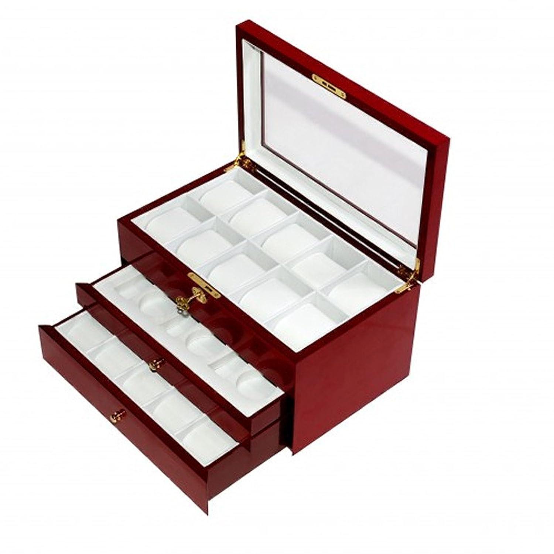 Stichprobe Collections Uhrenkasten Aufbewahrungsbox fÜr 26 Uhren mit Schaufenster Uhren aus Holz Finish Kirsche