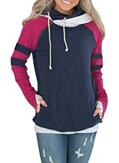 f5e5ebef9 Dokotoo Womens Color Block Thumb Hole Sleeves Cowl Neck Sweatshirts Hoodies  Outerwear
