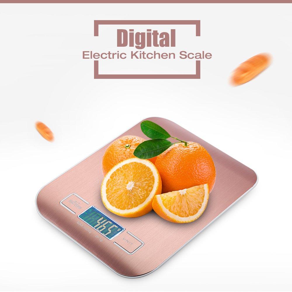 Zhuhaimei,Balanza de Cocina eléctrica Digital de Acero Inoxidable Comida de Dieta Cocina Medición Herramienta de pesaje(Color:Oro Rosa,Size:10 KG): ...