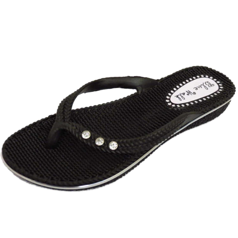 f97eb38b560d Ladies Flat Black Toe-Post Sandal Flip-Flop Beach Holiday Thong Summer  Shoes Sizes 3-8  Amazon.co.uk  Shoes   Bags