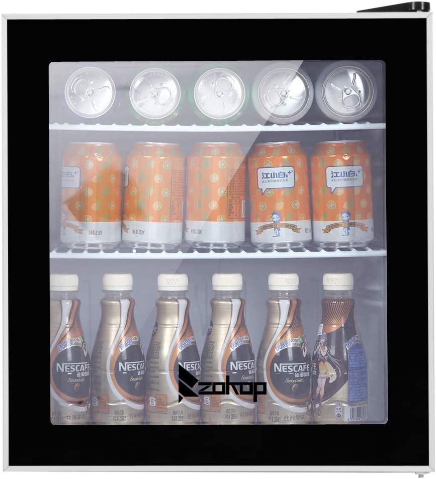 KUPPET 62-Can Beverage Cooler and Refrigerator, Small Mini Fridge for Home, Office or Bar with Glass Door and Adjustable Removable Shelves, Perfect for Soda Beer or Wine, 1.6 Cu.Ft, Black