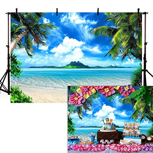 COMOPHOTO Summer Beach Backdrops for Photography 7x5ft Vinyl Blue Sea and Sky Background Palm Trees Photo Backdrop for Photo Booth -