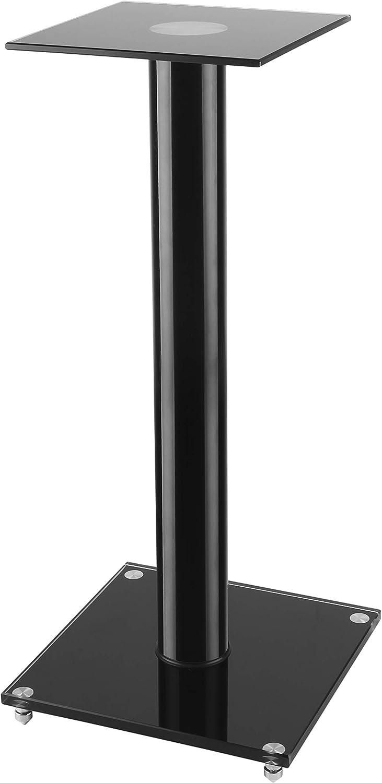 TechOrbits Speaker Stands Pair - Universal 23 inch Book Shelf Speakers - Floor Tempered Glass Speaker Stands for Surround Sound Audio