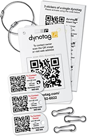 Dynotag Web Enabled Smart Tags - Savvy Traveler Starter Assortment, with DynoIQ & Lifetime Recovery Service.