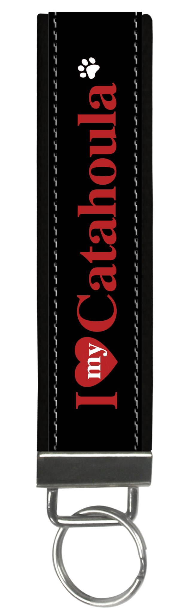 Snaptotes I Love My Catahoula Wristlet Keychain One Size Red White Black