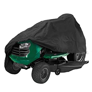 FLYMEI Lawn Mower Cover, Premium 54'' Tractor Cover Waterproof John Deere Seat Covers Large Durable, UV Protection Cover, Black