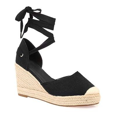 28d7f16255b63c La Modeuse - Espadrilles compensées Noires: Amazon.fr: Chaussures et ...