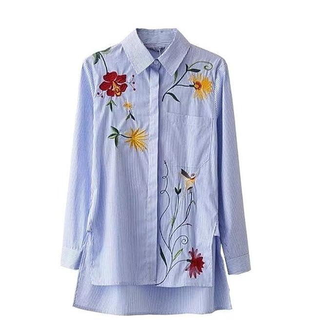 DRESS_start Camisa Floral Irregular Bordada de La Raya de La Blusa de La Manga de Las