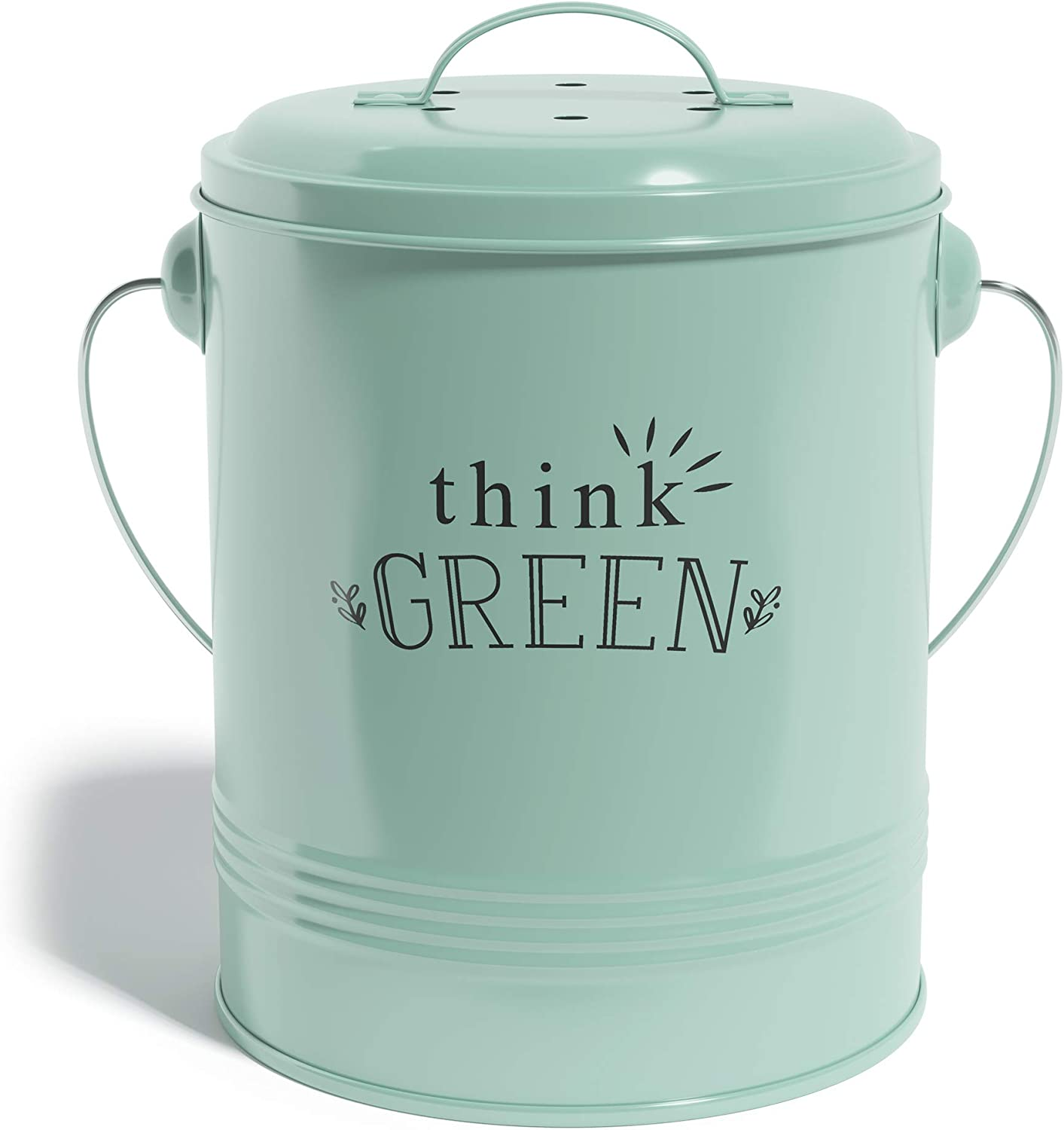 Barnyard Designs Compost Bin with Lid for Kitchen Countertop, Food Composter Container Can, Small Indoor Compost Trash Bucket, 1.2 Gallon, Galvanized Steel in Color Mint, 7