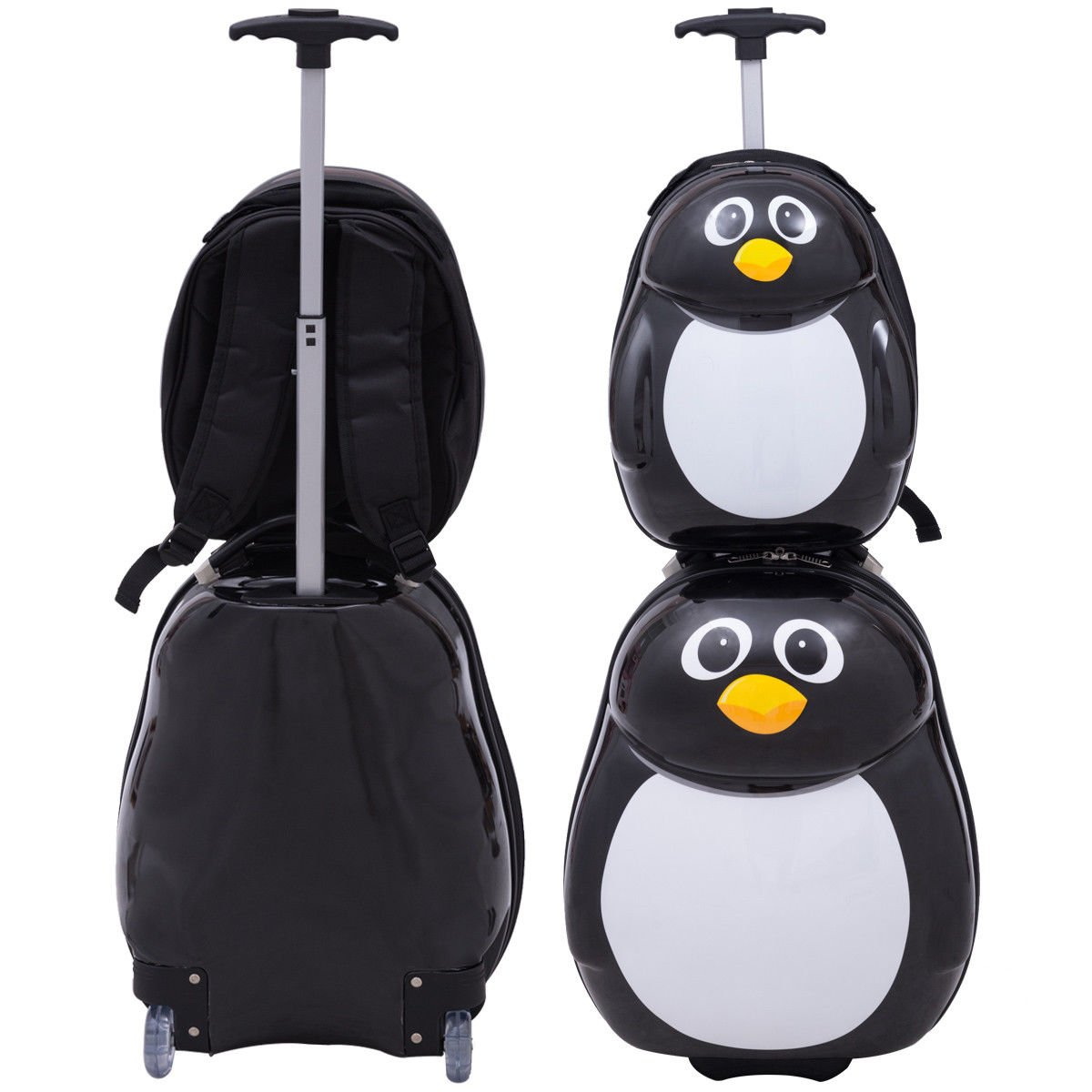 Goplus 2Pcs Kids Luggage, 19'' Carry On Luggage & 13'' Backpack, Kids Carry On Spinner Luggage Set, Rolling Trolley Suitcase for Boys and Girls Travel Suitcases (Penguin) by Goplus (Image #6)