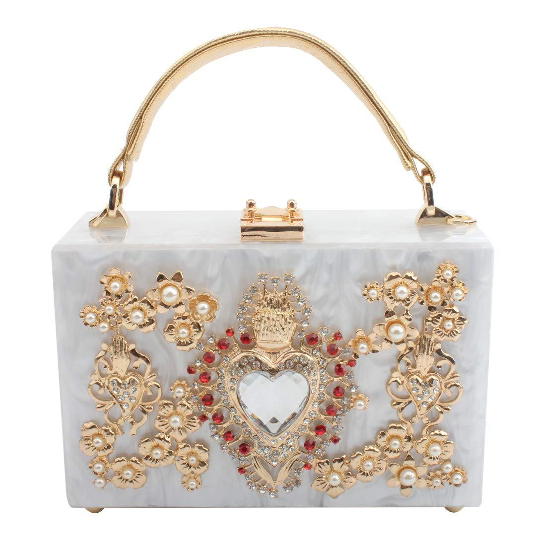 LETODE Women' Sparkling Crystal Clutch Purse Elegant Acrylic Evening Bags Wedding Party Handbag Pursey (WHITE)