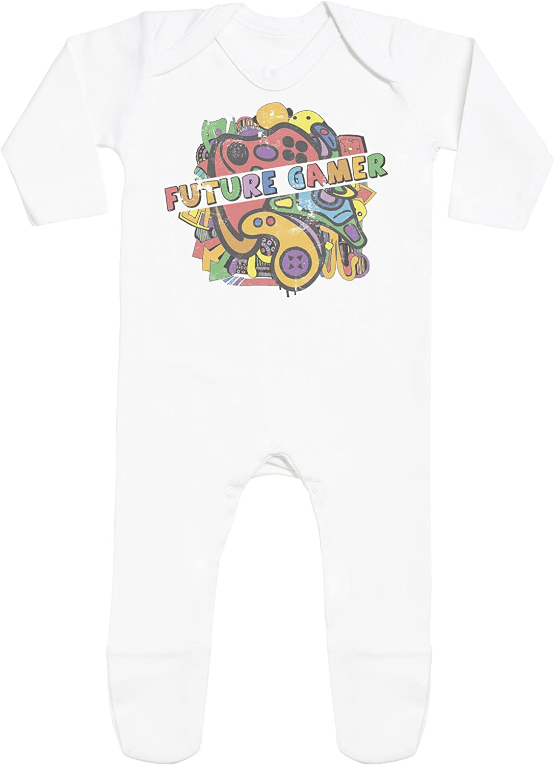 Baby Jumpsuit Baby Romper SR Baby Sleepsuit Future Gamer Baby Rompersuit with Feet Baby Rompersuit 0-3 Months White