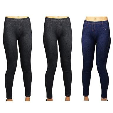 05ae1d133f1 OWASI ® Pack of 3 Skinny Womens Girls Jeans Stretchy Jeggings Ladies Denim  Look Leggings UK Sizes  Amazon.co.uk  Clothing