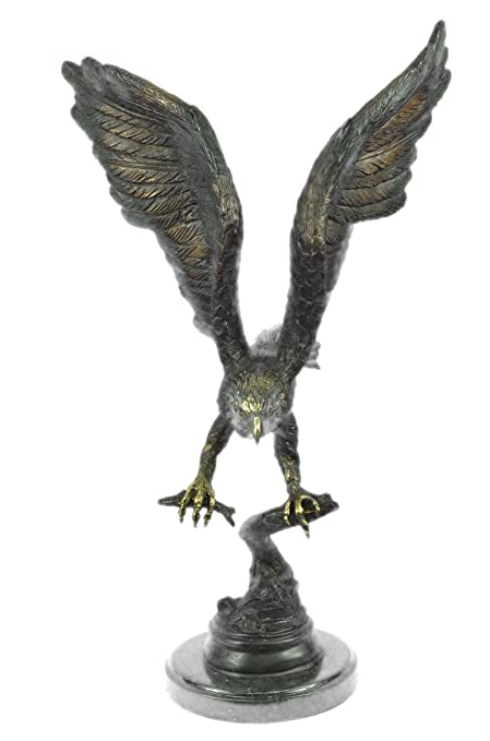 Figura decorativa hecha a mano en bronce europeo de Moigniez Eagle Catch Fish multicolor para patina