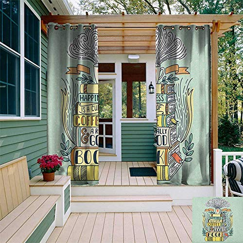 leinuoyi Book, Outdoor Curtain of Lights, Quote for Happiness Being Related to a Book Printed in Cartoon Style on a Set of Books, Fabric by The Yard W84 x L96 Inch Multicolor