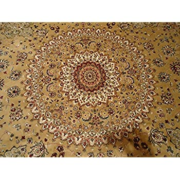 Persian Silk Gold Round Rug 6x6 Circle Shape Rugs Floor Carpet Living Room Round Silk Area Rugs Entrance Round Shape Rug (Round Shape 6 Foot)