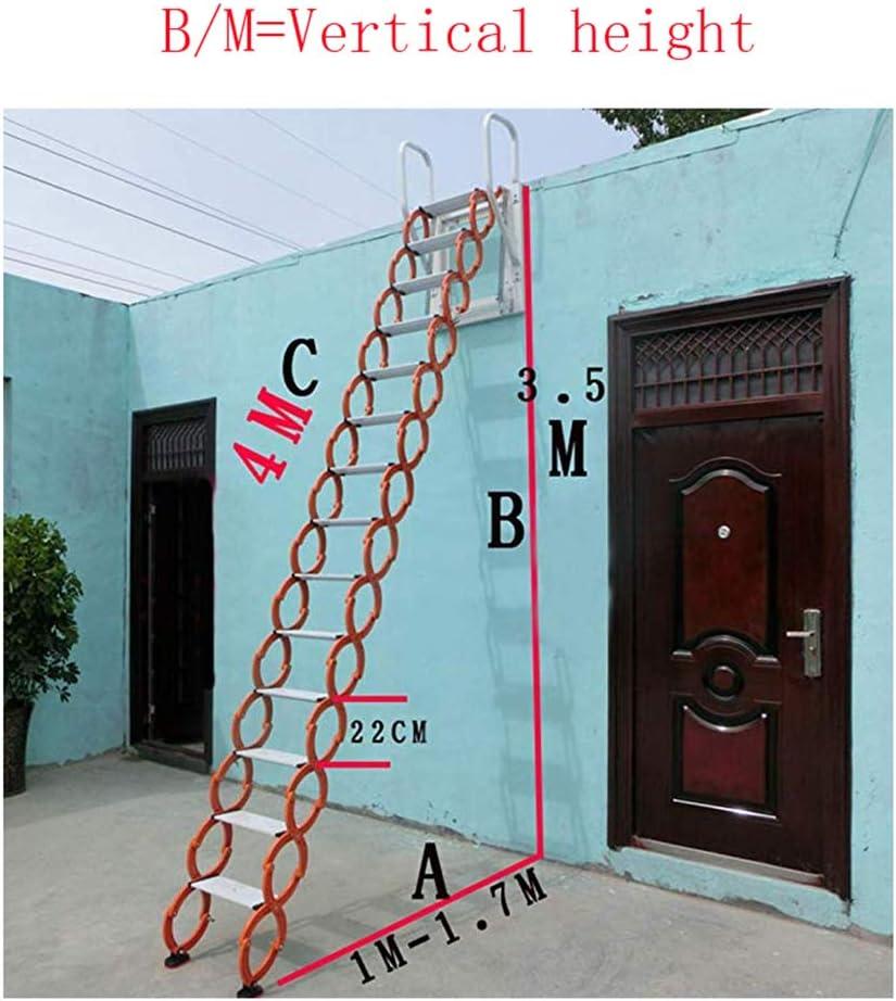 Escalera de ático de metal con barandillas Escalera de ático de aluminio de 2M-4M desplegable escalera plegable engrosada altura personalizable (B/M-3.2M,Aleación): Amazon.es: Bricolaje y herramientas