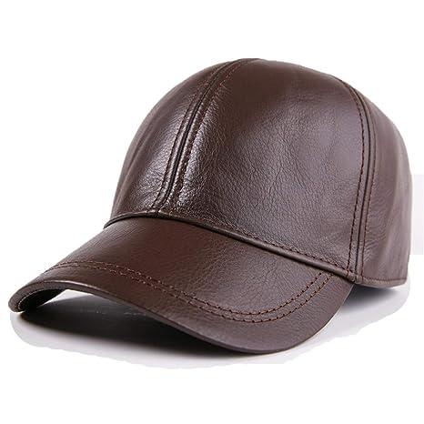 Qiusa Gorra de béisbol de Cuero Genuino para Hombres Confort Durable Casual Casquillos Ajustables clásicos (