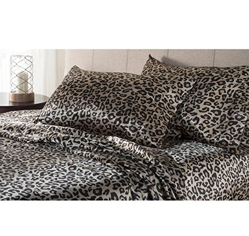 Leopard Satin Sheets - 4 Piece Multi Leopard Theme Sheets Queen Set,For Master Bedroom,Beautiful Luxury All Over Black and Brown Spot Pattern, Abstract Featuring Zoo, Wild Animals Contemporary Style, Solid Color, Microfiber