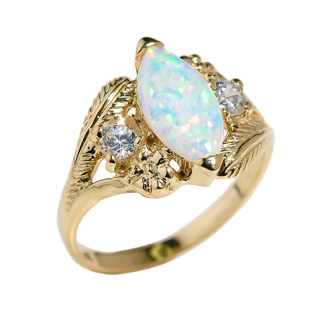Women's 10k Yellow Gold Simulated Marquise Statement Ring (Size 7.5)