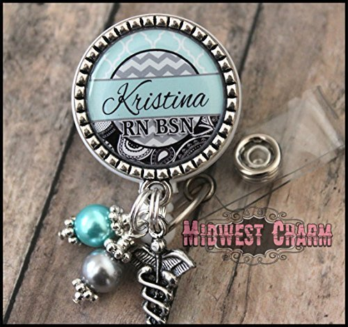 Personalized Badge - blue/black/gray 1 inch bezel..Personalized retractable badge holder..1 inch bezel name plate. Any name and any credentials.