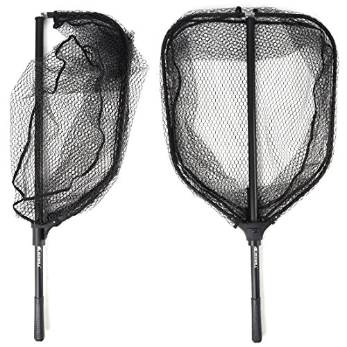 BLISSWILL Large Fishing Net Collapsible Fish Landing Net with Extending Telescoping Pole Handle Durable Nylon Material Mesh Safe Fishing Catching and Releasing Knotless Fishing - Fishing Net Landing