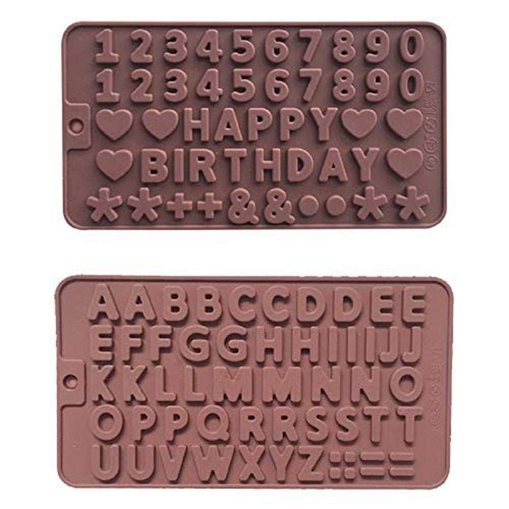26 letras y 9 números + moldes de chocolate de feliz cumpleaños de ...
