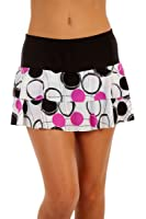 Show No Love Women's Tournament Doubles Tiered Skirt in black and fushia ball print