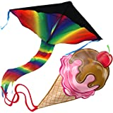 aGreatLife Huge Rainbow Kite and Ice Cream Kite: Double the Fun Trick and Adventure Two of the Best Selling Easy Flyer Kites for Outdoor Games in One Amazing Bundle - Perfect Gifts for Kids and Adults