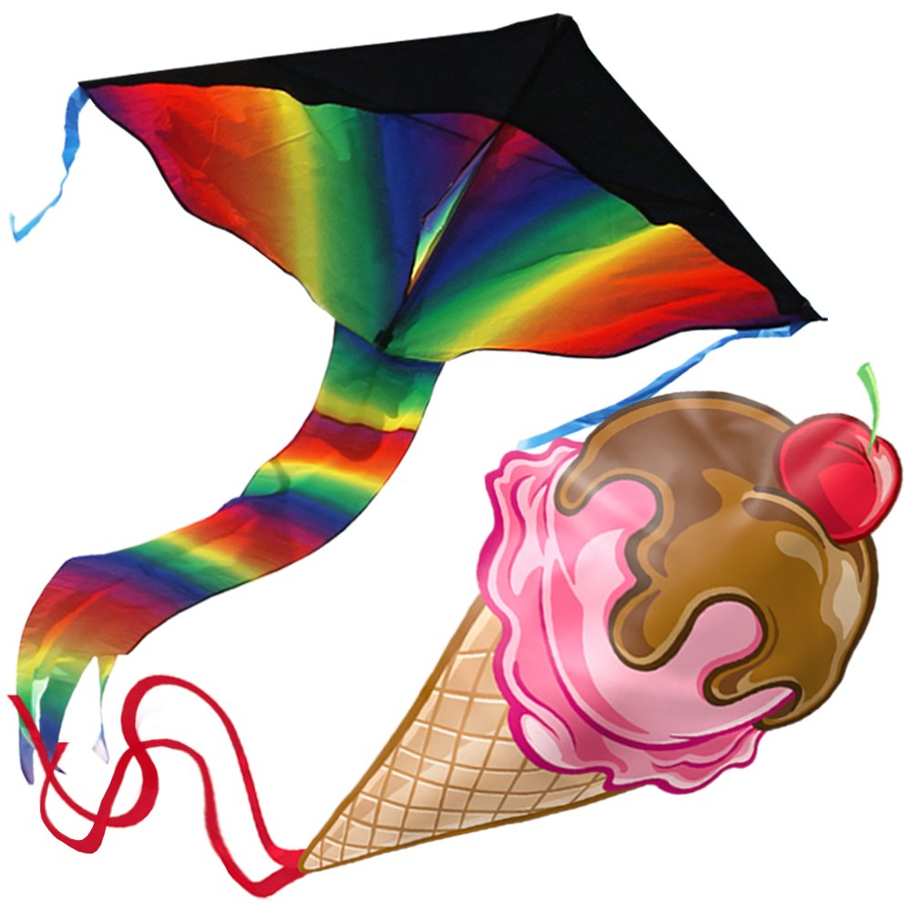 aGreatLife Huge Rainbow Kite and Ice Cream Kite: Double the Fun and Adventure with Two of the Best Selling Easy Flyer Kites for Outdoor Games in One Amazing Bundle - Perfect Gifts for Kids and Adults