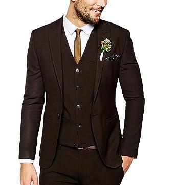 Botong Fashion Dark Brown Men Suit 3 Pieces Wedding Suits Groom ...
