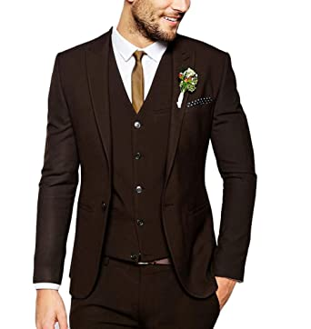 e063d11ab76b Men's Fashion Dark Brown Suit 3 Pieces Wedding Suits Peak Lapel Groom  Tuxedos Casual Suit at Amazon Men's Clothing store: