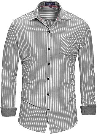 Fanuosums Camisas para Hombre Regular Fit, Camisa de Manga Larga de algodón Camisa a Rayas Ropa de Gran tamaño para Hombres (Color : Gris, tamaño : XL): Amazon.es: Hogar