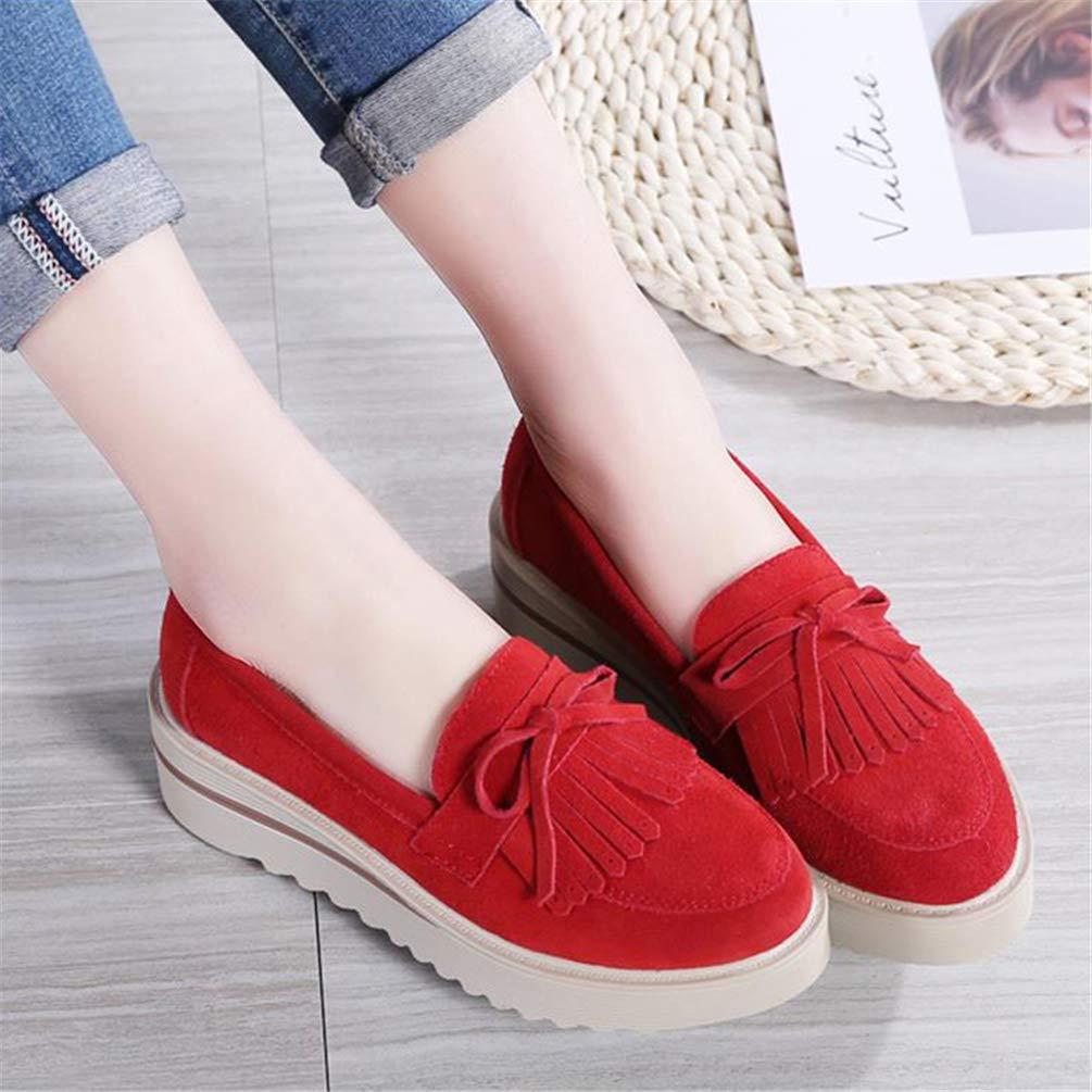 Donne Casual Shoes Nappe Piattaforma in Pelle Slip su  Donne Appartamenti  su Rosso 7c2a4a